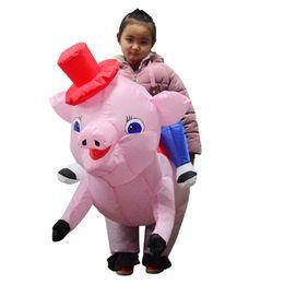 Frete Grátis Porco Inflável Traje Do Vestido Extravagante Rosa Traje Do Cavaleiro Inflável Traje Da Mascote Do Dia Das Bruxas de