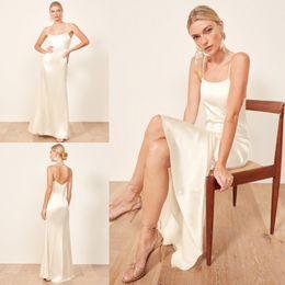 Vestido de noiva de seda simples on-line-2019 Silk Mermaid Wedding Dresses Spaghetti Comprimento Pavimento simples Bohemian vestido de casamento Custom Made baratos vestidos de noiva vestidos de novia