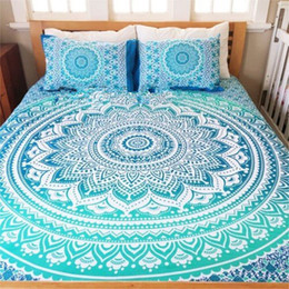indian bedding Promo Codes - Bohemian Bed Cover 3d boho Mandala printing bed sheet With Pillow Case Indian Home Decor Bedspread tapestry Wholesale Hot
