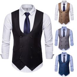 2020 abrigo formal de estilo de los hombres 2019 Nuevo estilo Moda para hombres calientes Formal Casual de negocios chaleco traje delgado de doble botonadura abrigo de chaleco abrigo formal de estilo de los hombres baratos