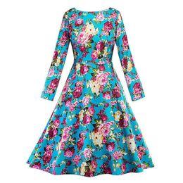 Canada 2019 Spring Party floral robe bleu rose imprimer élégant robes bureau occasionnel rétro mi-mollet O-cou femmes robe vintage Vestidos cheap elegant blue mid calf dresses Offre