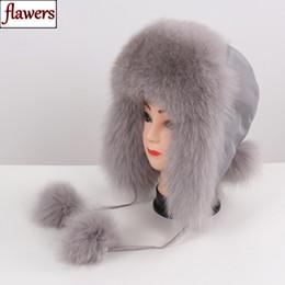 veri cappelli russi invernali Sconti 2019 vendita calda donne pelliccia di volpe naturale russo ushanka cappelli inverno spessa orecchie calde moda bomber cappello della signora genuino vera pelliccia di volpe