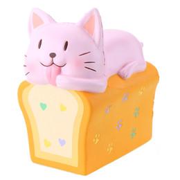 Katze handy-charme online-2018 Hottest Vlampo Squishy Toast Cat Scented Langsam steigende Dekompressionsspielzeug für Handyriemen Langsamer Rebound-Katzentoast-Brot DHL-frei