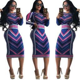 vestido de rayas clubwear Rebajas Mujeres Casual O-cuello de impresión de manga larga fiesta Bodycon vestido largo para mujer Sexy rayas Clubwear vestidos de manga larga vestido de las mujeres vestidos