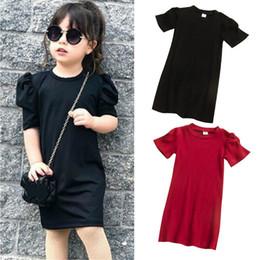 2019 mädchen rotes pullover kleid 2020 Kleinkind-Kind-Baby-Mädchen 4 Farben PUFFÄRMELN Fest gerade beiläufige Strickkleid Top Outfit 1-6Y