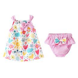 2019 saia calça floral Meninas do bebê Macacão Dois Conjuntos de Peças de Algodão Floral E Listras Imprimir Saia Menina Com Calças PP saia calça floral barato