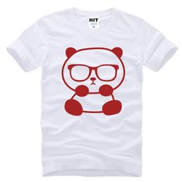 2019 lustige sonnenbrille männer Kleiner Panda mit Sonnenbrille Cute Funny Printed Mens Männer-T-Shirt T-Shirt 2017 neue Art und Weise Hülsen-Ausschnitt Baumwolle T-Shirt T-Stück günstig lustige sonnenbrille männer