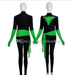 Costumi fenix x uomini online-Nero Verde X-Men Phoenix Guerriero Spandex supereroe costume di Halloween