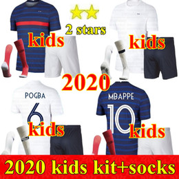 france soccer kit Coupons - 2020 France Boys Chandal Maillot de Foot francia enfant kids kit 2 stars GRIEZMANN KANTE MBAPPE POGBA franca football French Soccer Jerseys
