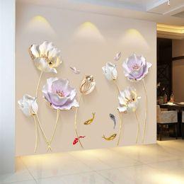 Elegantes wohnzimmer tapete online-Chinesische Art-Blumen-Tapeten-3D-Wand-Aufkleber Wohnzimmer Schlafzimmer Badezimmer Home Decor Dekoration Poster Elegante