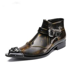 Argentina Nuevo diseñador de la llegada para hombre de alta superior ocio zapatos de cuero moda metal dedo del pie corto botín hebilla correa encanto tamaño 38-46 cheap mens ankle boots straps Suministro