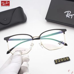 Ornamentali blu online-Designer Occhiali da vista Occhiali da sole Uomo Occhiali da sole da donna Marca R22009 Occhiali miopi Vetro anti-blu 2 colori Alta qualità con scatola