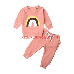 chapéus bola de futebol Desconto 0-3Y Autumn Infant Kids Baby Girls Boys Clothes Sets Rainbow Print Long Sleeve Pink Tops+Ruffles Pants