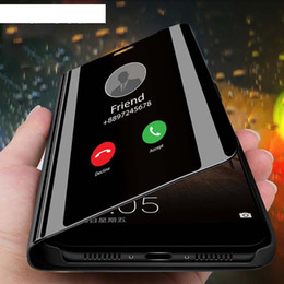 Funda de metal galaxy note edge online-Smart Mirror Flip Funda para teléfono para Samsung Galaxy S9 S10 S8 S7 S6 Edge Plus S10E Clear View Cover para Samsung Note 9 8 5