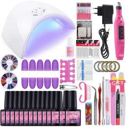 Kits de gel online-Nail Art Set 36W llevó UV secador de la lámpara Con 06/10/12 color de uñas del gel del gel del sistema de barniz de manicura Kit de Herramientas