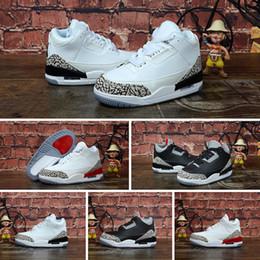 2019 дети белые теннисные туфли Nike Air Jordan 3 Мальчики для девочек 3s баскетбольные кроссовки ретро j3 Black White Cement Мальчики для девочек молодежные детские j3 Jumpman III кроссовки для тенниса скидка дети белые теннисные туфли