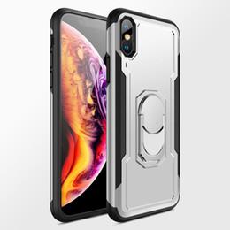 Custodia in plastica per case online-Custodia per anello magnetico di lusso per iPhone X / 7/6 / 6S / 8Plus Cover in plastica con copertura completa con custodia per telefono