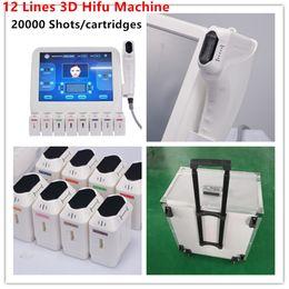 Mais recente 20000 Shots 8 HIFU Cartuchos HIFU pele de elevação Body Shaping Ultrasonic Faca 12 linhas 3D HIFU beleza máquina de