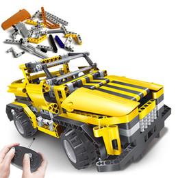 construir carros rc Desconto 2 em 1 diy elétrica montada controle remoto rc cars brinquedos educativos blocos de construção criativa car xmas presentes para as crianças