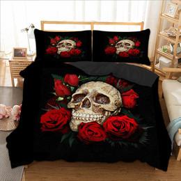 colcha rainha rosa vermelha Desconto Venda quente conjunto de cama de caveira preto vermelho com rosa gêmeo completa queen size têxteis lar tecido de microfibra colchas de luxo