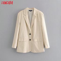 2019 casaco de trabalho bege Tangada mulheres bege terno blazer jaqueta designer 2019 nova chegada outono feminino trabalho bolsos de negócios blazer outwear DA100 casaco de trabalho bege barato