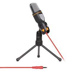 Suivi de câble en Ligne-Microphone à condensateur stéréo filaire de haute qualité avec pince pour le chat chantant Karaoké PC portable SF-666 $ 18 no tracking