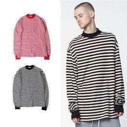 Мужские рубашки с длинным рукавом онлайн-Мужская футболка большого размера с круглым вырезом в полоску с длинным рукавом и длинными рукавами Футболка с длинными рукавами Джастин Бибер Street Wear