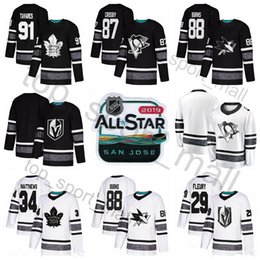 2019 NHL All Star Jersey Hockey 97 Connor McDavid 88 Brent Burns 87 Sidney  Crosby Marc-Andre Fleury Auston Matthews John Tavares Black White 36892a7a3