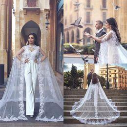 dfbc6618554f women jumpsuit black high neck 2019 - 2019 Elegant White Jumpsuit Wedding  Dresses V Neck Lace