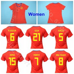 red spain uniform Promo Codes - Women Spain 2019 World Cup 19 Amanda Sampedro Jersey Lady Soccer Home Red 11 Alexia Putellas 10 Jennifer Hermoso Football Shirt Kits Uniform