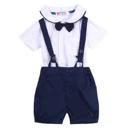 Мальчики завязывают футболки онлайн-Newborn Baby Boy Girl Outfit Set Summer Short Sleeve Cotton Suit Children T-shirt Top + Overall Bib Pant + Bowknot Tie