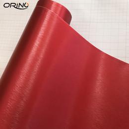 50cmx300cm Rouge Métallique Brossé En Aluminium Vinyle En Métal Vinyle Wrap Film De Voiture Autocollant Styling Auto Feuille Décor ? partir de fabricateur