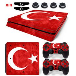 calcomanías para xbox one Rebajas Turquía Etiqueta de la bandera nacional para PS4 Slim vinilo antideslizante de la piel y 2x controlador pegatinas adhesivas accesorios para Playstation 4 Slim consola