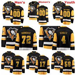 2019 jersey de pingüinos personalizados Pittsburgh Penguins Jerseys Letang Jersey Patric Hornqvist Bryan Rust Matt Cullen Justin Schultz Negro Blanco Hockey Jerseys Cosido personalizado rebajas jersey de pingüinos personalizados