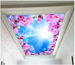 Blaue blumenmalereien online-Kundenspezifisches großes Fotopapierpapier der Decke 3d reiches transparentes blauer Himmel des weißen Himmels der Narzisse bewölkt Schlafzimmerzenith-Deckenwandgemälde