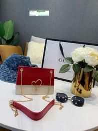 2019 chaîne de sac d'or Le nouveau sac à bandoulière le plus sexy d'ExplosionWomen Rouge et beige avec boucle en forme de cœur Chaîne dorée détachable Tissu très délicat chaîne de sac d'or pas cher