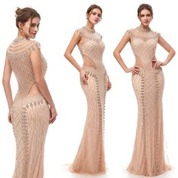 rhinestone evening gown cap sleeves Promo Codes - 2019 Luxury Mermaid Rhinestones Sexy Sparkly Prom Party Dresses Dubai Show Hollow Backless Illusion Dress Evening Gown