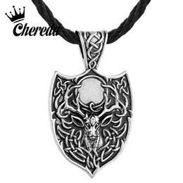 Collar de talismán online-Chereda Legendario Vikingo Aegishjalmur Amuleto Colgante Grande Ciervo Doble Sekira Nordic Talisman Colgante Collar