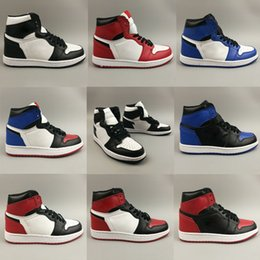 Baloncesto de tormenta online-Nike Air Jordan 1 Banned AJ1 storm blue varsity diseñador rojo Zapatos de baloncesto para hombre Zapatillas Nuevo 2019 Zapatillas de deporte de cuero genuino sin caja