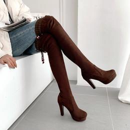 Cuisses épaisses talons en Ligne-taille 32 à 43 daim rouge brun sur les cuissarde du genou bottes de concepteur de luxe talons épais de plate-forme