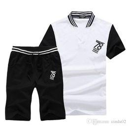 2019 la moda della maglietta di baseball Abiti da jogging da uomo Stampati T-shirt slim estate T-shirt + pantaloni per uomo Moda casual Tute la moda della maglietta di baseball economici