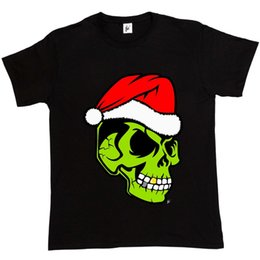 Золотая куртка из черепа онлайн-Золотой зуб зеленый череп Санта шляпа Рождество Гринч мужская футболка куртка Хорватия кожаная футболка джинсовая одежда camiseta футболка