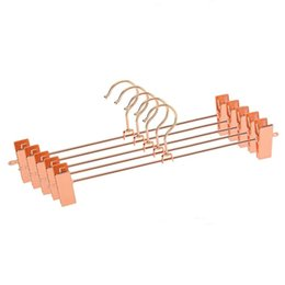 Pantalones de metales pesados online-Hangerlink Rose Copper Gold Metal Heavy Duty Pantalones Falda Slack Perchas, Pantalones Pantalones Con Clips Rack Swivel Hook (12pcs / lot) Q190603