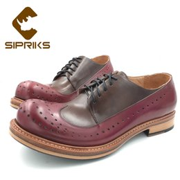 Pattini fatti a mano online-Sipriks Hand Made Goodyear scarpe con la suola dell'annata unica Wingtip Brogue abito di pelle Mens pattini spessi Gents Suits