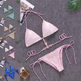 2019 bikini delle donne della sirena Crystal Mermaid Paillette Costume da bagno Due pezzi Vita Cravatta Halter Bikini Swimwear Summer Beach Wear Costume da bagno Abbigliamento donna Drop Ship 190602 sconti bikini delle donne della sirena