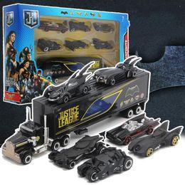 2019 bus jouet vert Nouveau Batman, chariot en alliage, jouets de costume, 6 chars, wagons porte-conteneurs, voiture de poche pour enfants.