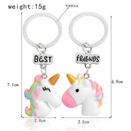 regali all'ingrosso ragazze all'ingrosso Sconti Portachiavi in lega Unicorn Cartoon 2 pezzi / pacco per regali di amicizia ragazze ragazzi simpatici animali portachiavi all'ingrosso all'ingrosso