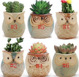 vasetti da giardino in ceramica all'ingrosso Sconti Vasi da fiori GUFO Fioriere in ceramica smaltata Vasi per piante grasse Giardino di casa Decorazione ufficio Gufo succulente