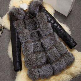 2019 chaqueta de cuero mujer s morado Manga larga caliente de la manera del invierno de las mujeres de imitación del abrigo de pieles de la PU de la chaqueta de cuero de Mantener caliente Outwear Señora Casual Abrigo S-3XL MSK66