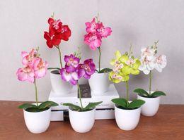 künstliche blaue orchideen blumen Rabatt 20 Satz Phalaenopsis Topf künstliche Orchidee Blume + Schaum Blatt + Kunststoff Vase Simulation Blume Zuhause Weihnachtsdekor Bonsai Geschenk